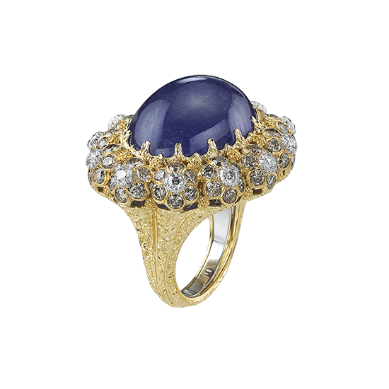Botoletta Cocktail Ring in Yellow and white gold with Tanzanite and diamonds