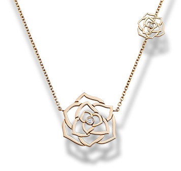 Piaget Rose pendant in 18K rose gold, set with 2 brilliant-cut diamonds (approx. 0.06 ct).