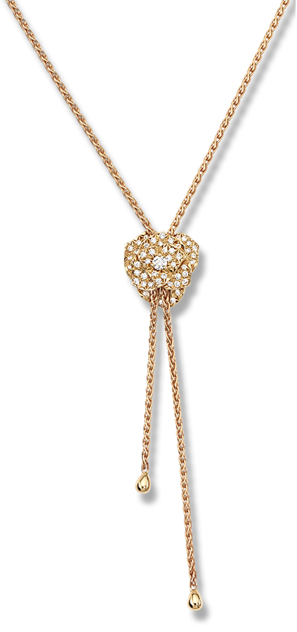 Piaget Rose pendant in 18K rose gold, set with 41 brilliant-cut diamonds (approx. 0.72 ct).