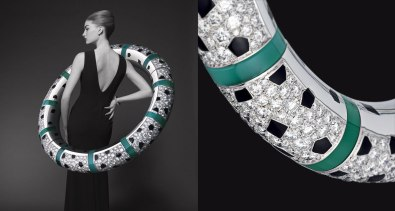 Bracelet in white gold, onyx, black laquer, chrysoprase, diamonds.