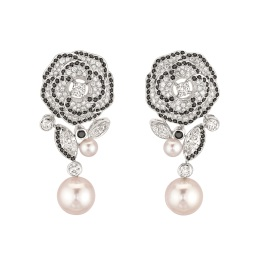"""Les Intemporels de Chanel. """"Camélia Gansé"""" earrings in 18K white gold set with 4 marquise-cut diamonds for a total weight of 1.1 carat, 156 brilliant-cut diamonds for a total weight of 1.5 carats, 4 Japanese cultured pearls and 184 brilliant-cut spinels for a total weight of 1.5 carat."""