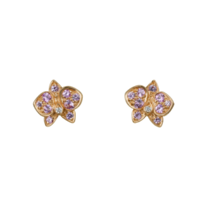Caresse d'Orchidées earrings: 18K pink gold earrings set with pink sapphires and diamonds.