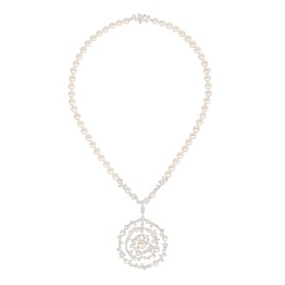 """Les Intemporels de Chanel, """"1932"""" Collection. """"Spirale"""" necklace in 18-karat white gold set with 193 brilliant-cut diamonds for a total weight of 5.8 carats, 1 cushion-cut diamond and 65 Japanese cultured pearls."""