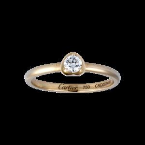 18K pink gold ring set with 1 diamond.