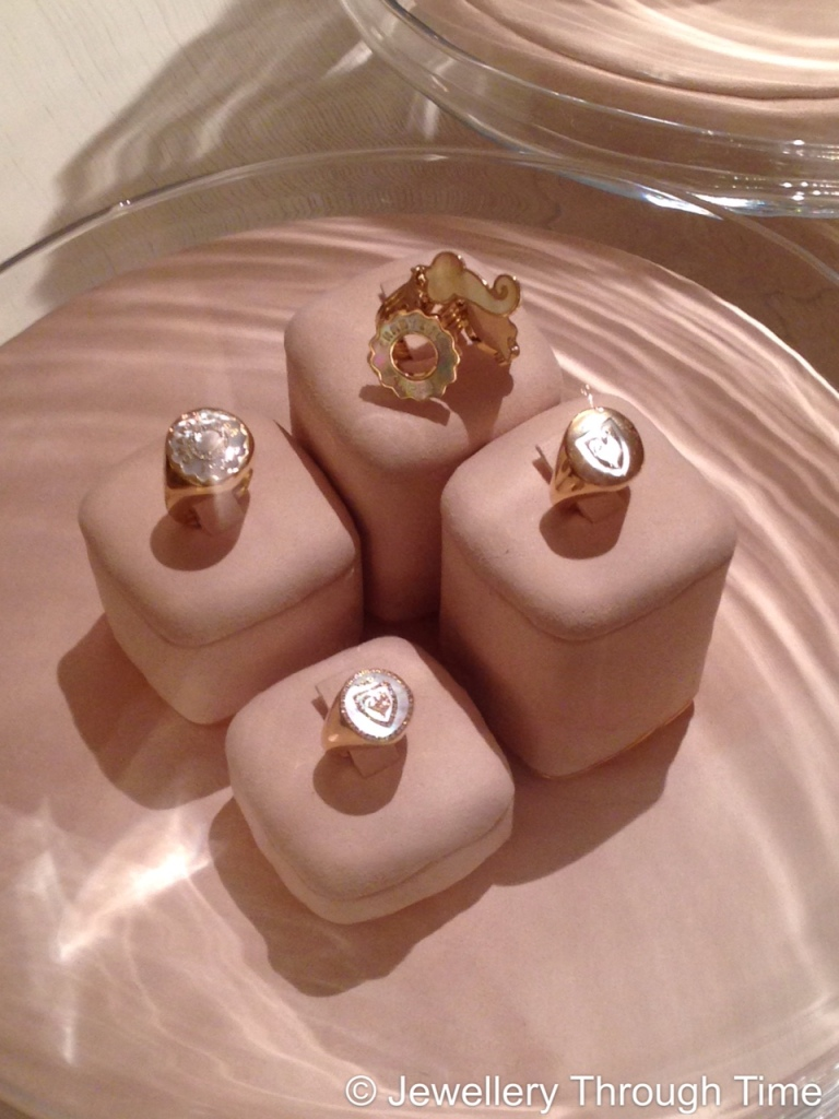 Anima Collection chevalier rings - rose gold and mother of pearl.