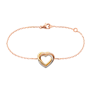 Trinity Heart bracelet, 18K 3-gold motif, pink-gold chain.