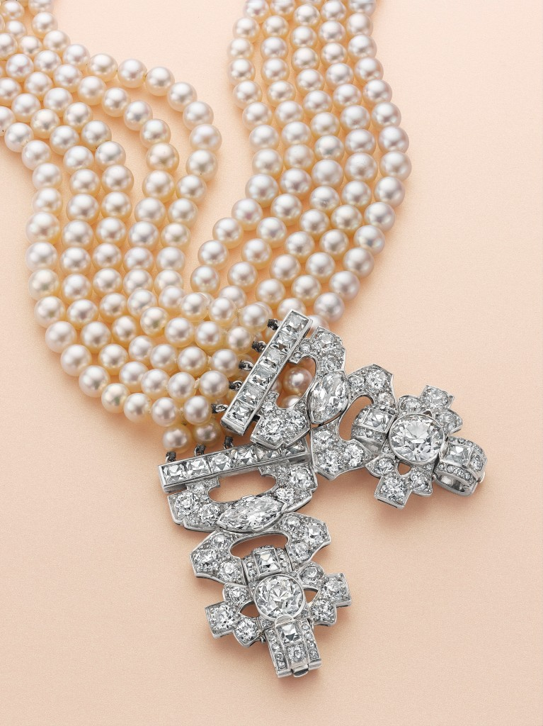 A pair of Art Deco natural pearl and diamond bracelets. Estimate $120,000 - 150,000.