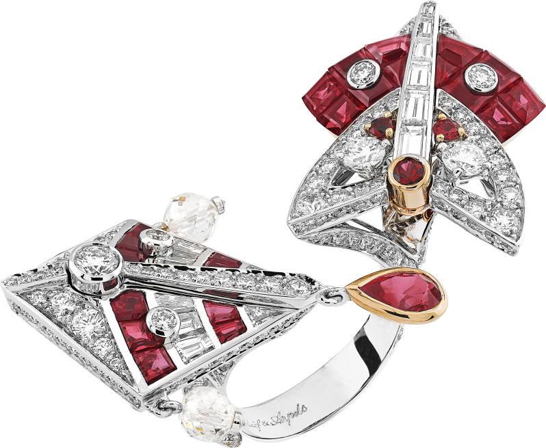 Cerfs-Volants Mystérieux Between the Finger ring. Round and drop-cut rubies. Rubies and diamonds en Serti Mystérieux setting.
