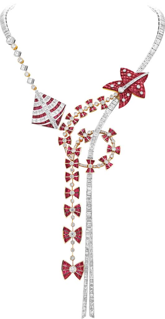 Cerfs-Volants Mystérieux Necklace: baguette-cut rubies, rubies and diamonds in Serti Mystérieux setting.