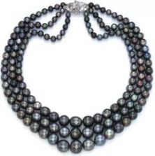 Three Strand Nina Dyer Black Pearl Necklace, Cartier. The triple-strand natural black pearl necklace, is made up of 151 spherical and near-spherical, perfectly matched natural black pearls.