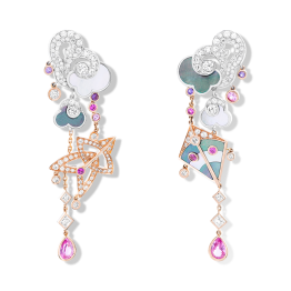 Cerfs-Volants large model earrrings. These asymmetric earrings in pink gold, pink and mauve sapphires, white gold, white and grey mother-of-pearl and diamonds are surprising, bringing together two distinct representations of a kite.
