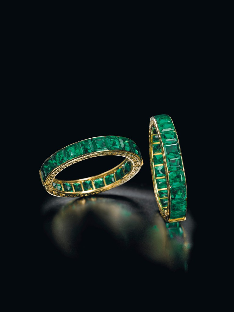 A pair of antique emerald Indian bangles.