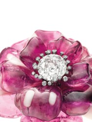 A pair of tourmaline, agate and diamond camelia brooches, by JAR