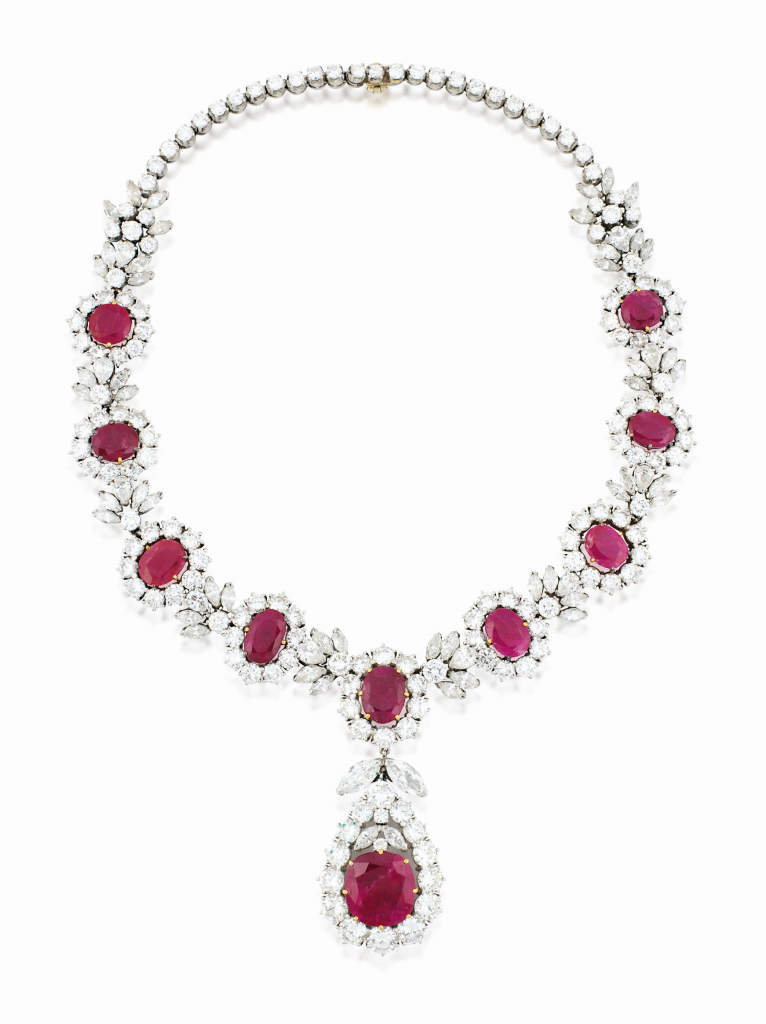 A ruby and diamond necklace, The property of Her Royal Highness the Princess of Bavaria Estimate: £35,000 - 45,000