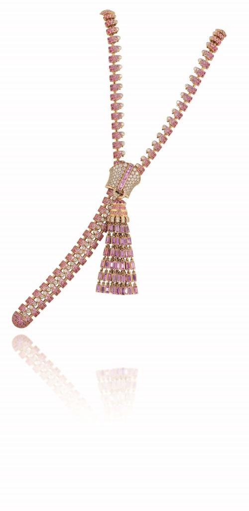 A UNIQUE PINK SAPPHIRE AND DIAMOND 'ZIP' NECKLACE, BY VAN CLEEF & ARPELS. Estimate: £200,000 - 300,000