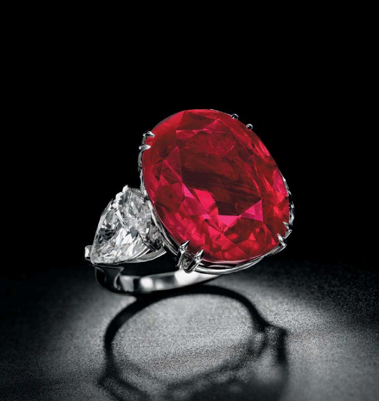 A cushion-shaped Burmese Ruby Ring.