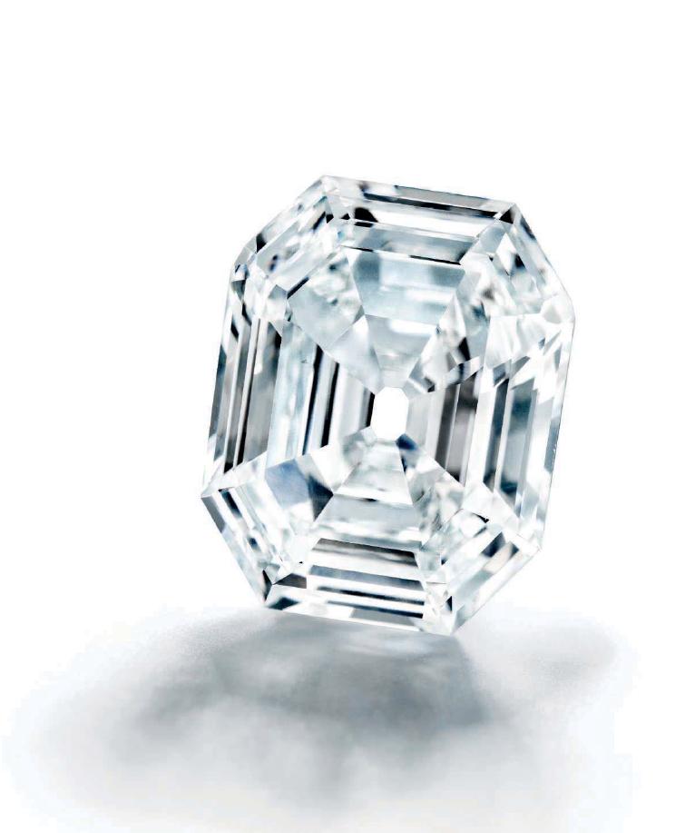 Rectangular step-cut D colour SI1 Type IIa diamond.