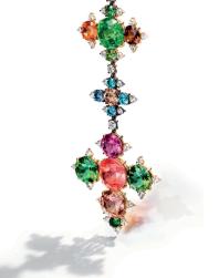 A tourmaline, garnet, emerald and diamond fibula brooch, by JAR