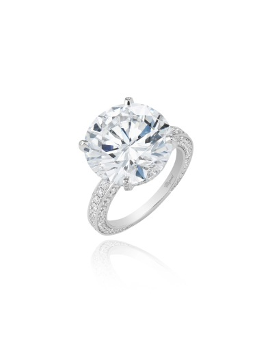 Ring in 18k white gold set with an exceptional D-Flawless 10.93cts brilliant-cut diamond