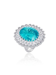 Ring in 18k white gold designed as a slender lacework ribbon of diamonds encircling an exceptional oval paraiba tourmaline (41.57cts)