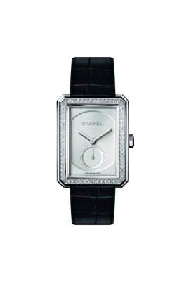 BOY.FRIEND watch. 18K white gold case. 18K white gold set with 66 brilliant-cut diamonds (~0.92 ct) . Opaline guilloché dial. 18K white gold crown and onyx cabochon. Black alligator strap with 18K white gold buckle set with 48 brilliant-cut diamonds (~0.28 ct). Manual-winding mechanical movement. 42-hour power reserve. Functions: Hours, minutes, seconds. Water-resistance: 30 meters. Dimensions: 28.60 x 37 x 7.75 mm.
