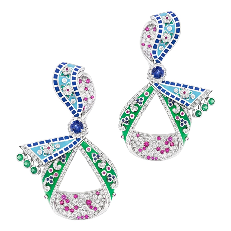 Fabergé Summer in Provence Multi coloured Sapphire Earrings