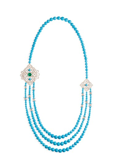 Necklace in 18K pink gold set with 1 cushion-cut emerald (approx. 4.18 cts), 84 marquise-cut diamonds (approx. 9.30 cts), 208 turquoise beads (approx. 16.22 cts) and 430 brilliant-cut diamonds (approx. 7.44 cts).