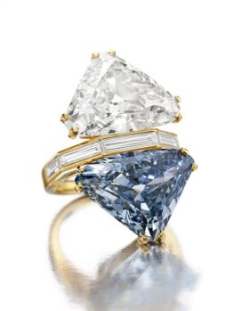 Bulgari Blue. This 10.95 carat, triangular-shaped, Fancy Vivid blue diamond is set with a 9.87 carat, G color diamond on a vintage gold ring. It sold for $15.8 million on Oct. 20, 2010 at Christie's in New York. Photo courtesy of Christie's Images LTD 2013.