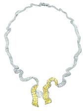 Dénoué Diamant Necklace. 750/1000 white and yellow gold, diamonds and yellow diamonds.
