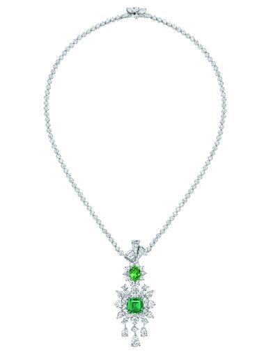 Plumetis Emeraude Necklace. 750/1000 white gold, diamonds, emerald and tsavorite garnets.