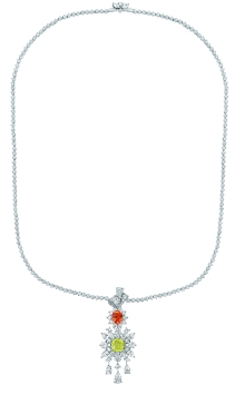 Plumetis Diamant Jaune Necklace. 750/1000 white gold, diamonds, yellow diamonds and spessartite garnets.