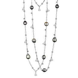 Vows by Alexandra Mor 18k White Diamond & Pearl Sautoir Necklace With Briolettes Snowflakes Charms