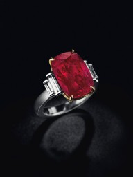 A Burmese ruby and diamond ring of 11.01 carats. Estimate: US$785,882 - $1,173,719.