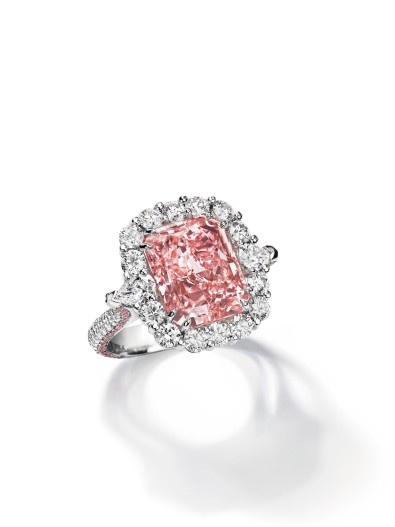 An important coloured diamond ring set with a fancy intense pink rectangular diamond, weighing approximately 7.07 carats. Estimate: US$4,592,814 - $5,307,252.