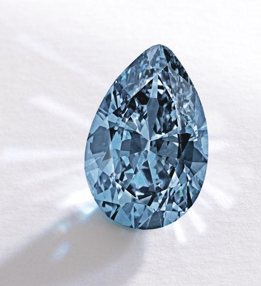 The Zoe Diamond – 9.75 carat Vivid Blue Diamond, Most Expensive Diamond per carat and Most Expensive Blue at the time of auction. Image: Sotheby's