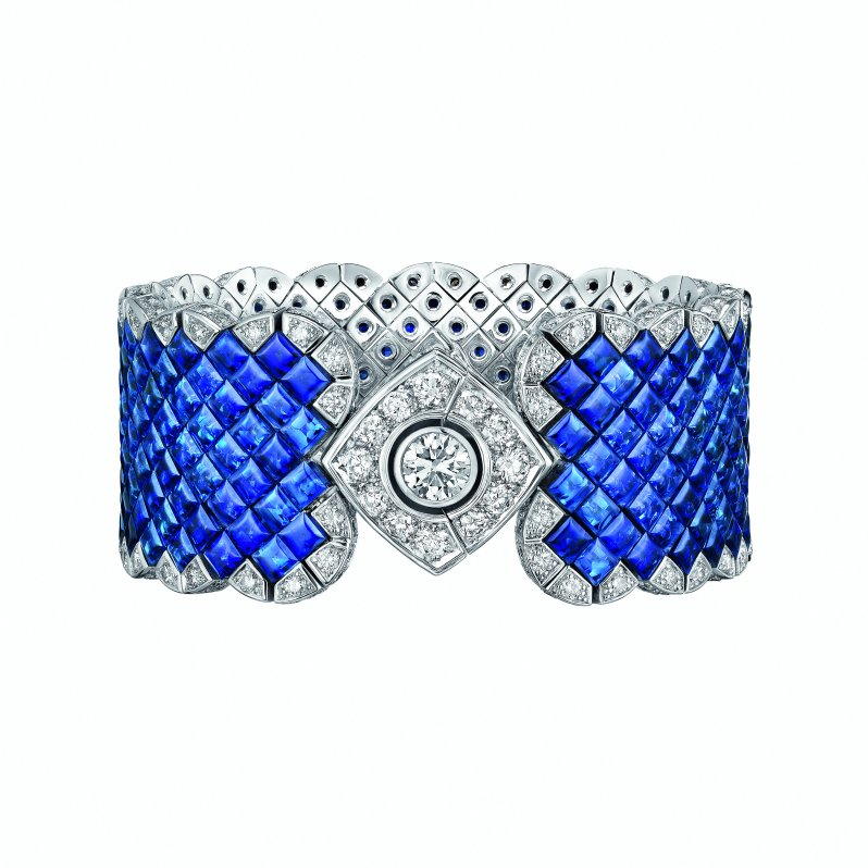 """Signature Ultime"" bracelet in 18K white gold set with a 1-carat brilliant-cut diamond, 265 square-cut sapphires for a total weight of 66 carats and 221 brilliant-cut diamonds for a total weight of 7.7 carats."