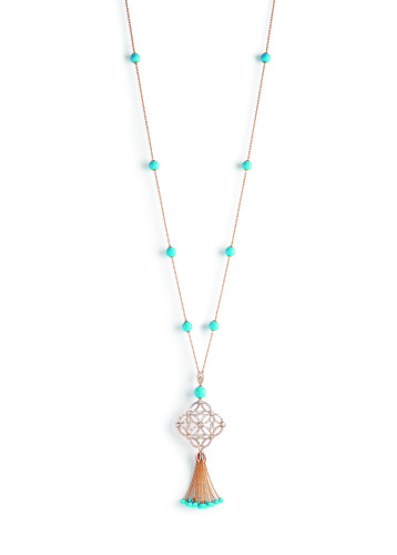 "Extremely Piaget ""Décor Dentelle"" Necklace. 18k pink gold, 25 grains of turquoise (circa 48,50 carats) and 356 brilliant-cut diamonds (circa 5,69 carats)"