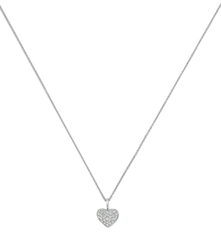 Pavé Heart Charm in Platinum with chain