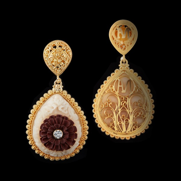 Alexandra Mor Carved Tagua Seed and Carved Wooden Lotus flower Diamond earrings