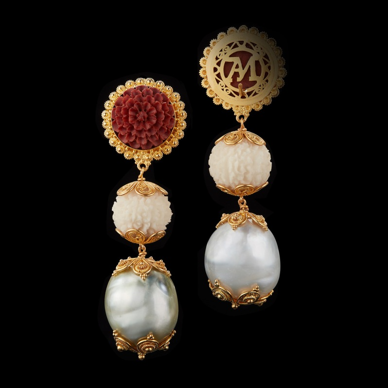 Alexandra Mor Tagua Seed, Baroque pearls and Carved Wooden Lotus Earrings