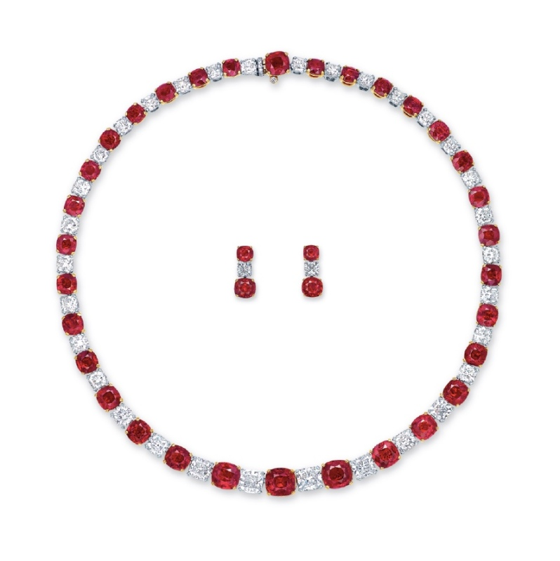 Mogok's Fiery Red Necklace and Earrings
